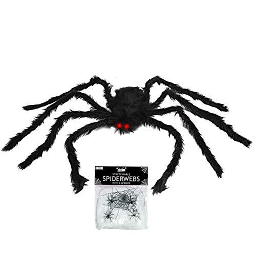 N/N Ragno di Halloween, Ragno Gigante Halloween, 10 Ragni di Plastica, Ragnatela di 60g, Decorazioni di Halloween