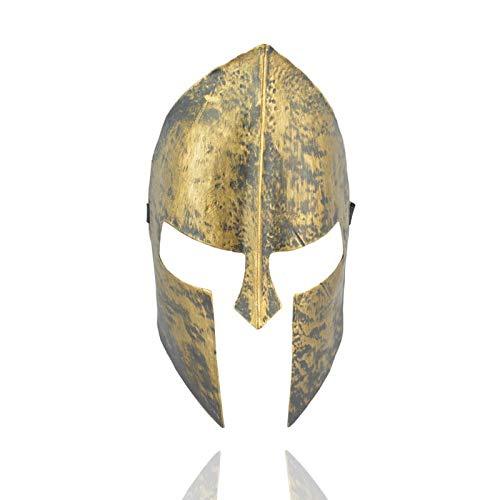 XWYWP Máscara de Halloween Gladiador Antiguo Griego Romano Legión Soldado Máscara de Plástico Cosplay Halloween Fiesta Plata