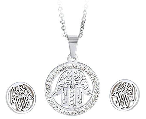 Adisaer 316 Edelstahl Damen Halskette Ohrringe Sets Poliert Geometrische Abbildung CZ Silber