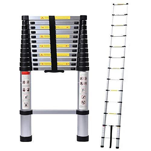 5M Alu Teleskopleiter, Ausziehbare Leiter, Klappleiter Stehleiter Rutschfester, Ausziehleiter Mehrzweckleiter, Haushaltsleiter 150 kg Belastbarkeit Mit EN131 Zertifiziert