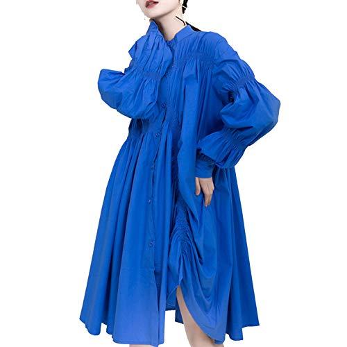 ROSG Vestido Camisero Holgado de Manga Larga con diseño de Dobladillo Irregular y Pliegues Laterales, Cuatro Estaciones.