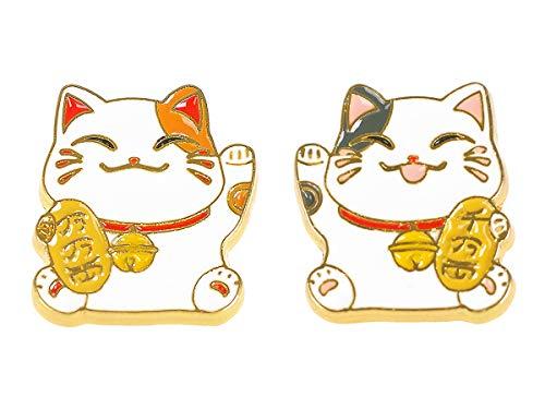 CoolChange Neko Atsume, Metall Pin Set mit 2 Katzen Ansteckern