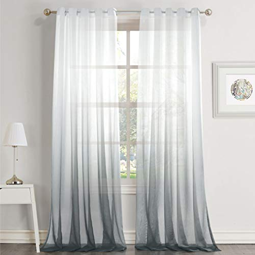 Dreaming Casa Gradient Voile Sheer Curtains White Grey Eyelet Bedroom Light Fitration or Privacy for Living Room Window Treatment Curtain Voile Ombre 2 Panels 55x 94 inch Drop (140cm x 240cm)