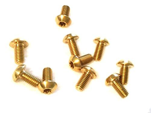 CarbonEnmy 4St Titan Schraube M5 x 10 mm Vorbau Schrauben konisch DIN 912 Silber Neu (Gold)