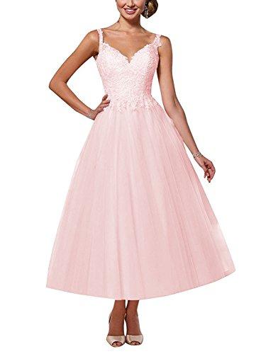Elegant Brautkleid A-Linie Lang V-Ausschnitt Hochzeitskleid Spitzen Rückenfrei Brautmode Abendkleider mit Träger Rosa 40