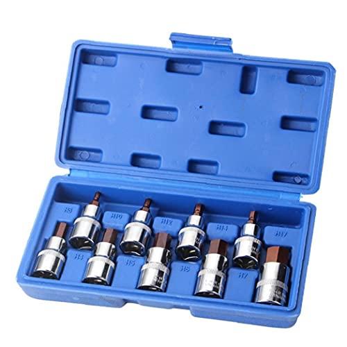 Juego de zócalo hexagonal, zócalo Torx de acero S2 de 1/2 pulgada, llave de destornillador eléctrico, 9 piezas, herramientas y mejoras para el hogar
