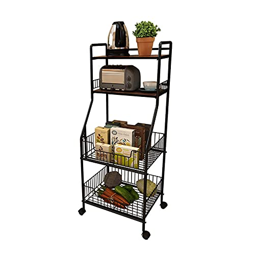 LKH Kitchen Storage Racks and Shelving, 4-Tier Spice Rack, Seasoning Herb Jars Storage Counter Metal Wire Basket Organizer for Bathroom, Bedroom, Laundry Room(Size:42×34.5×114cm,Color:B)
