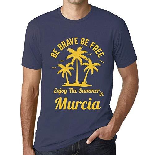 Hombre Camiseta Gráfico T-shirt Be Brave & Free Enjoy the Summer Murcia Azul Oscuro