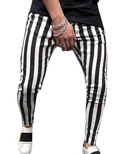 Personalidad de los Hombres Pantalones Deportivos de Rayas Blancas Negras con cordón elástico en la Cintura
