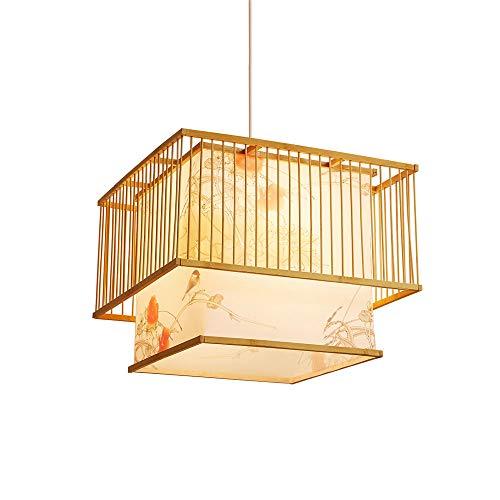 KAIKEA Estilo Chino Diseño Minimalista para el hogar/Tema Creativo Madera Maciza Arte de bambú Candelabro Colgante/Dormitorio Estudio Iluminación Familia LED Retro Lámpara Tejida de bambú