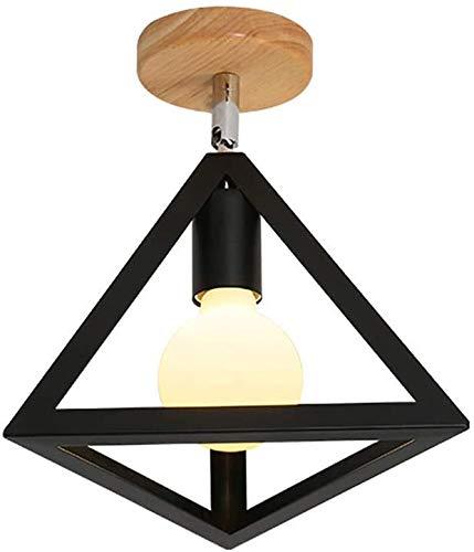 miwaimao - Lámpara de pared E27 para pared de 'Haushaltswasch Lampe, metal geometry pared foco de madera salón salón pasillo 26 x 25 x 25 cm, color blanco, negro, negro y negro