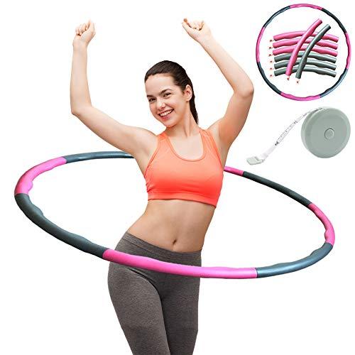 ZOORE Einstellbar Hula Hoop, Fitness Reifen Abschnitten Sport Hoola Hoops Reifen Gymnastikreifen für Fitness und Abnehmen (4 Knoten Pink + Grau)