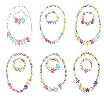 HYHP 6 Packs Toddler Necklace and Bracelet Set Little Girls Necklace and Bracelet Kids Princess Necklace Bracelet Toddler Jewelry Kid Jewelry