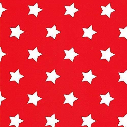 Kevkus Toile Cirée Nappe Table au Mètre Noël Étoiles Dessin Taille au Choix en Carré Rond Ovale (140 X 290 cm Oval, M90352 Rouge)