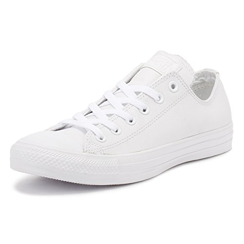 Converse All Star Ox Leather Monochrom Weiße Sneakers-UK 12