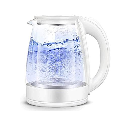 Hervidores eléctricos inalámbricos 1,8L, hervidor de té eléctrico de vidrio 1500W, hervidor de agua caliente de acero inoxidable 304 BPA con luz indicadora LED (color: blanco) mei (Color : White)