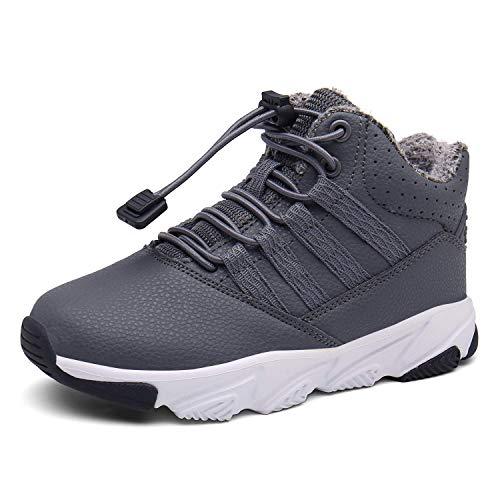 KVbabby Buty zimowe dla chłopców i dziewczynek, buty zimowe dziecięce, buty na śnieg, wodoszczelne, buty trekkingowe, ciepłe kozaki, buty typu sneaker, outdoorowe buty bawełniane, szary - szary - 31 EU