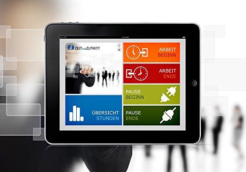 TimeSoft-easy-05, Zeiterfassungs-Komplettsystem für 5 Mitarbeiter - Innovative Stempeluhr mit farbigem Touch Display - WiFi Buchungsterminal 5 nummerierte RFID-Identifikationsmedien - Stechuhr