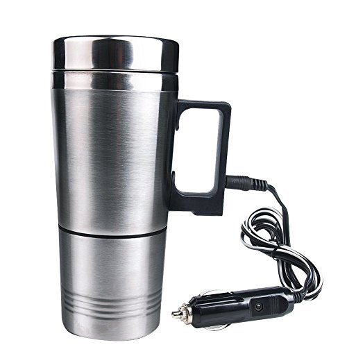 12V coche eléctrico de acero inoxidable taza taza de café aplicables a la ebullición agua caliente café, leche, hervir huevos y té