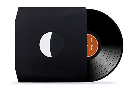 100 Stück | 12' | Schallplatten | LP | Vinyl | Innenhüllen | mit Eckschnitt | gefüttert | antistatisch | schwarz | 110 gr./qm | xi-media ®