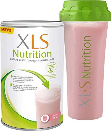 XLS Nutrition Fresa + Shaker de regalo - Batido sustitutivo de comidas para perder peso - Ingredientes de origen natural - contiene todas las vitaminas del grupo B - Sin gluten - 400 g