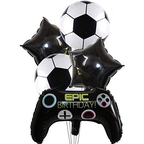 DIWULI, Gamer Luftballons 5 Teile Set Fußball, Happy Birthday, Gaming Folien-Ballons, Birthday, Gamepad Folienluftballon, Gamer-Ballons Geburtstag, LAN-Party, Junge Kindergeburtstag, Dekoration, Sport