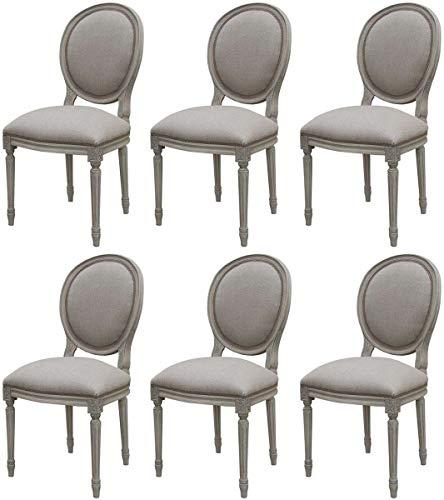 Casa Padrino Conjunto de sillas de Comedor medallón Barroco de Lujo Gris 48 x 50 x A. 95 cm - Sillas de Comedor Hechas a Mano en Estilo Barroco - Muebles de Comedor barrocos - Calidad de Lujo