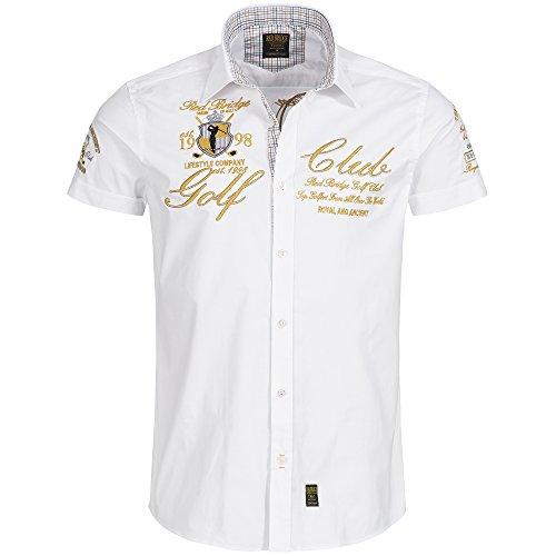 Redbridge Herren Hemd Freizeithemd Baumwolle Golf Club Regular Fit Bestickt (M, Weiß)