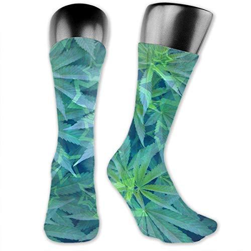 Inner-shop Mujeres Hombres Gala-ctic Stars Cannabis Weeds Soft Transpirable Tobillo alto Calcetines de algodón ocasionales Más gruesos Medias debajo de la rodilla Calcetines cómodos