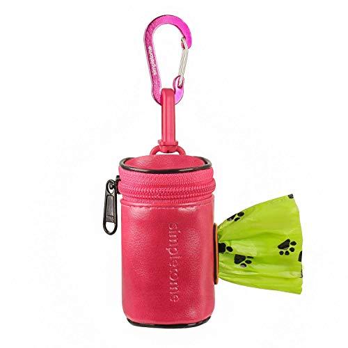simpletome Porta Saccheti Cane Sacchetti per Cani con Dispenser Impermeabile 1680D Oxford Cerniera YKK (Rosa)