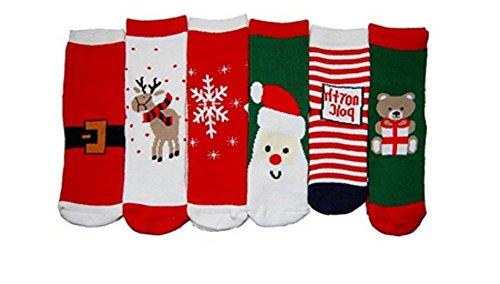Stillshine Chaussettes bébé/Enfant, Chaussettes de Noël Automne/Hiver (1-10 Ans) (3 Paires, 7-10 Ans)