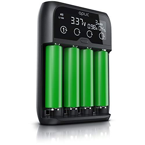 CSL - Universal Batterie Ladegerät - Akku Batterieladegerät Intelligent Battery Charger - für Li-ion, NI-MH, NI-Cd, LiFePo4 Akkus 18650 AA AAA Batterien und Akkus - LCD Display mit Echtzeitanzeige