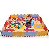 Bammax alfombra puzzle bebe, alfombra gateo bebe en espuma eva, alfombra infantil con numeros 0 al 9 y patrón de geometría, 16 pcs alfombra acolchada bebe con 16 cercas y 4 esquinas, no tóxica