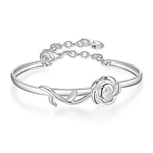 AMDXD Shape Bracelet à breloques en argent creux Design Fleur de Argent Plaqué femmes