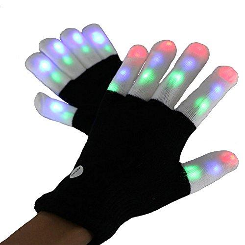 Amasawa Guantes Luminosos Brillantes Guantes confirmamos Luces LED Parpadeante Dedo delirio de los Guantes de 7 Colores demostración de la luz de Navidad, Fiesta, Baile, Bares y Actuaciones