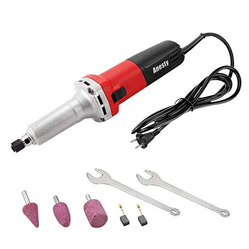 Amoladora recta eléctrica 750 W con velocidad reguladora 0-27000 rpm, herramienta de pulido y cuello 6 mm