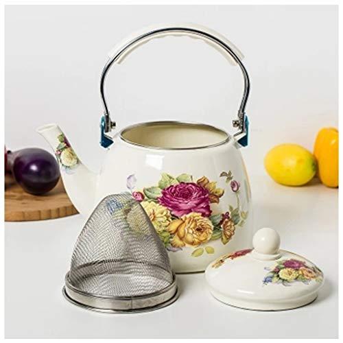 Emaille Theepot Bloemen,Groot Porselein Geëmailleerd Teakettle,Kleurrijke Hot Water Thee Ketel Pot voor Huishouden Commercieel Restaurant A
