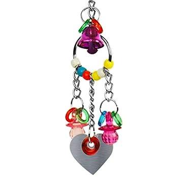 N/N Tvvudwxx Jouet à mâcher pour perroquet avec miroir en forme de cœur Jouet pour oiseaux Gris du Gabon
