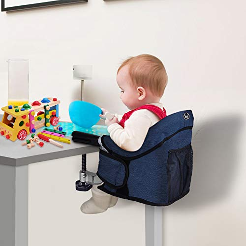 Lowest Price! Hook On Chair, Clip on High Chair, Fold-Flat Storage Portable Feeding Seat, High Load Design, Attach to Fast Table Chair(Navy Blue)