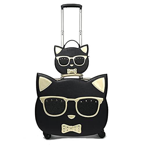 Juego de equipaje con ruedas de gato de 45,7 cm, para niñas, con bolsa de cosméticos, maleta de viaje pequeña, cabina de mano, White, 18 ',