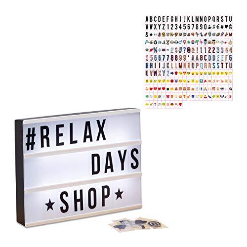 Relaxdays 2 TLG. Light Box Set, Leuchtbox mit 325 Buchstaben & Symbolen, LED Leuchtschild, HxBxT: 22 x 30 x 4,5 cm, weiß/schwarz
