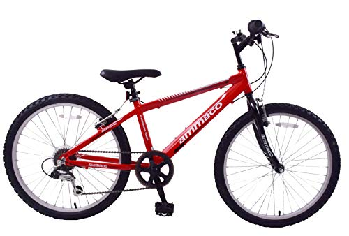 Ammaco. Python 24' Wheel Boys Junior Kids Mountain Bike Lightweight 13' Alloy Frame 6 Speed Red/Black 8 Years +
