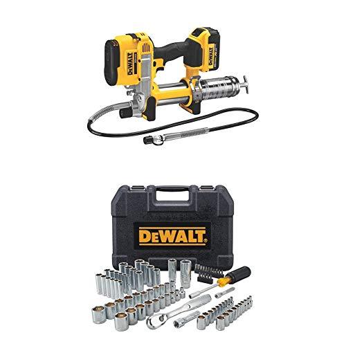 DEWALT DCGG571M1 20-volt MAX Lithium Ion Grease Gun and DWMT81531 84Pc Mechanics Tool Set