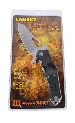 "Lansky Sharpeners LKN222 Pocket Knife 4"" Folding Blade Plain Edge Drop Point"