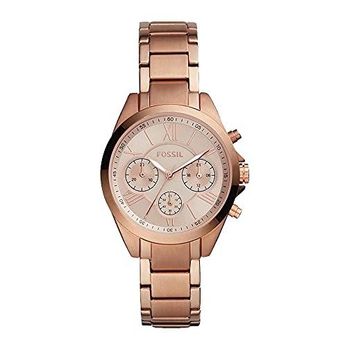 Fossil Modern Courier Midsize Reloj cronógrafo con Correa de Acero Inoxidable en Oro Rosa para Mujer BQ3036