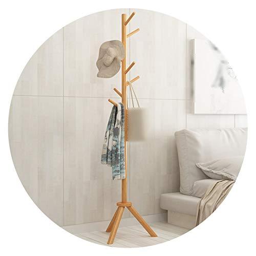 YAN FEI Vintage Easy Wooden Coat Rack, 3 Hooks Stable, Home Bedroom Hall Hallway Hanging Hat Scarf Purse Houseware, 2 Colors Heavy Duty Coat Rack (Color : WOOD COLOR, Size : 42X42X176CM)