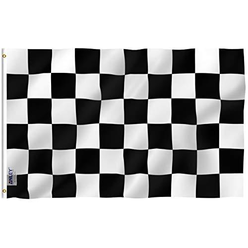 Anley Fly Breeze 90 x 150 cm Bandera Cuadros - Colores Vivos y Resistentes a Rayos UVA - Bordes Reforzados con Lona y Doble Costura - Negro y Blanco Carreras Banderas Poliéster con Ojales de Latón