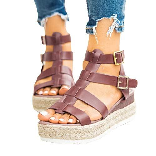 Sandálias femininas Vedolay para o verão 2020, sandália plataforma feminina, casual, sem cadarço, com canudo, tira no tornozelo, bico aberto, sandália de verão, Z10-brown, 7.5