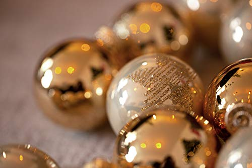 KREBS & SOHN Lot de 20 Boules en Verre – Décoration de Sapin de Noël à Suspendre – Assortiment de Boules de Noël – Doré/Ivoire