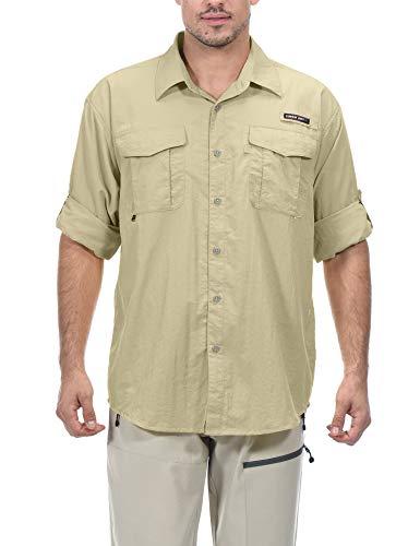 Little Donkey Andy - Camiseta de manga larga con protección UV UPF 50+ para hombre, transpirable y de secado rápido, XXXL, Beige